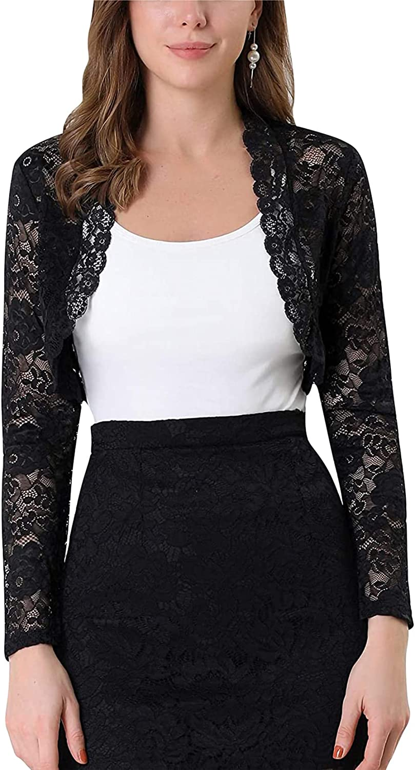 Women's Long Sleeve Cropped See Through Scalloped Y2k Crop Tops Open Front Lace Shrug Bolero Cardigan Top