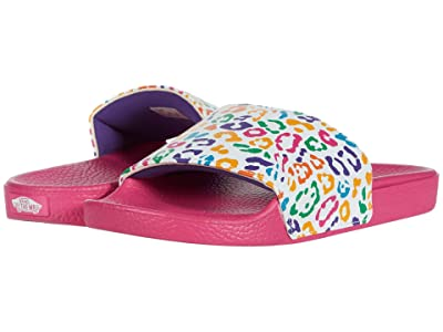 Vans Kids Slide-On (Big Kid) ((Rainbow Leopard) True White/Fuchsia Purple) Girl