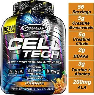 MuscleTech Cell Tech 肌酸肌肉营养蛋白质粉,获HPLC认证,橙味,56剂(约2.6公斤)
