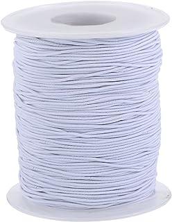 Cuerda Elástico Hilo Estirable Cuerda de Cuentas Cable de Elaboración de Tela, 0.8 mm, 100 Métros, Blanco