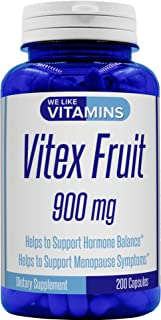 Vitex Fruit 900mg – 200 Capsules (Non GMO & Gluten Free) – Vitex Chasteberry Supplement – Helps to Support Woman's Health, Hormonal Balance, and PMS Symptoms