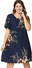 Milumia Women Plus Size Scoop Neck Short Sleeves Scallop Edge Floral Mini Dress