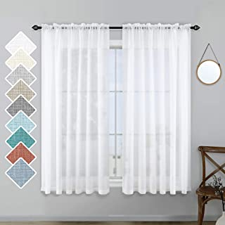 White Sheer Curtains 45 Inch Length for Kitchen Rod Pocket Set 2 Panels Half Light Filtering Semi Translucent Linen Textur...