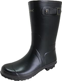 [アマート] メンズ ベルト ハーフ ブーツ 長靴 雨靴 通勤 アウトドア 親子 ファミリー 3色 AMT-1102 (LL(27.0 cm), ブラック)
