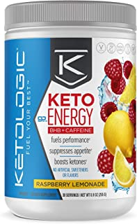 KetoLogic BHB Exogenous Ketones Powder with Caffeine | Supports Low Carb, Keto Diet & Boosts Energy, Focus | Keto Pre-Workout Supplement, Beta-Hydroxybutyrate BHB Salts | Raspberry Lemonade - 30 Serve
