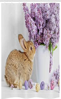 ABAKUHAUS Easter Bunny Stall Shower Curtain, Brown Easter Rabbit with Lilac Flowers Dyed Eggs Floral Innocent, Fabric Bath...