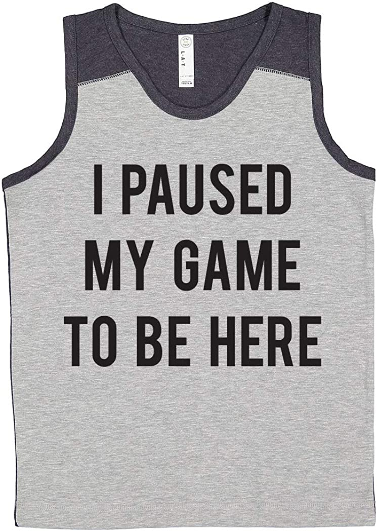 I Paused My Game to Be Here Youth Heather Grey Tank Top