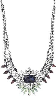 Steve Madden Women's Blue/Green Multi Jewel Design Statement Silver-Tone Necklace