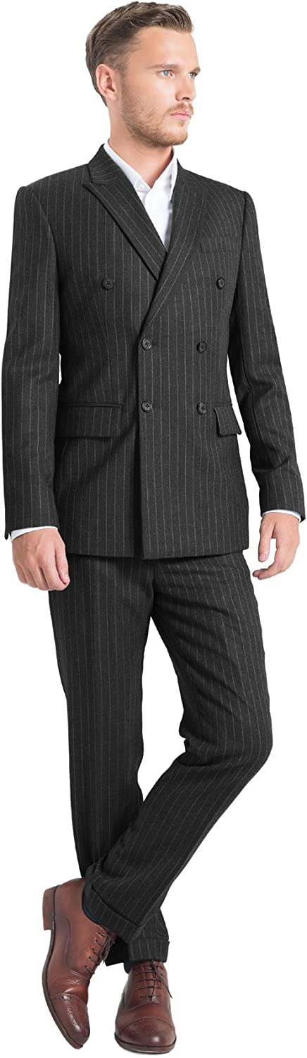 iTailor Men's 6-Button Double Breasted Pinstripe Suit Charcoal Grey 60 Long