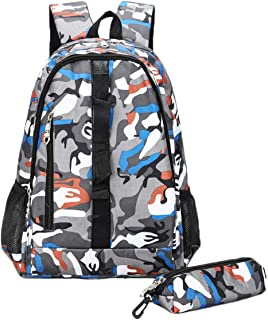 Abage Camouflage School Backpack Set 2 Piece Water Resistant Casual Daypack Laptop Bookbag for Travel/Men/Women/Boys/Girls, Orange