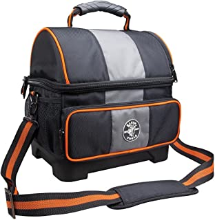 Klein Tools 12 Qt. Two Insulated Compartment Soft Sided Jobsite Lunch Cooler in Molded Bottom with Shoulder Strap and Handle