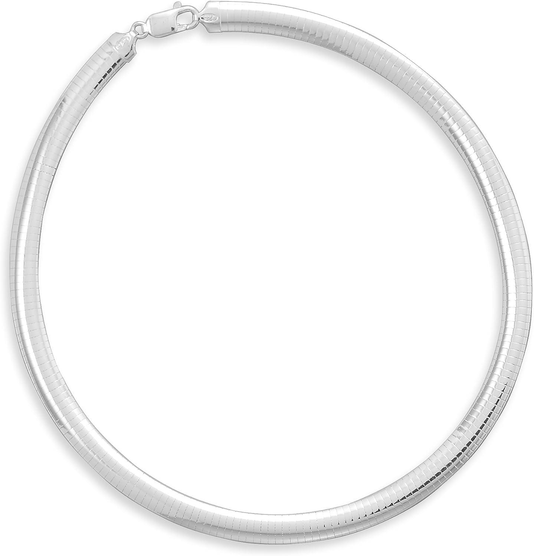 Domed Omega Collar 8mm Sterling Silver Sales for sale 70% OFF Outlet Necklace