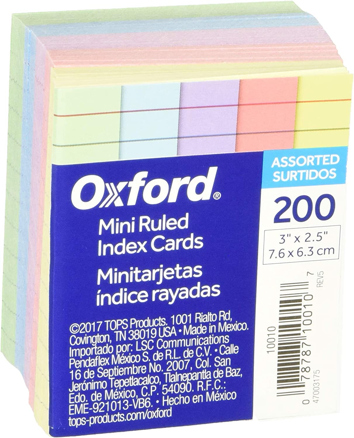 Oxford Mini Ruled Index Cards Assorted 3