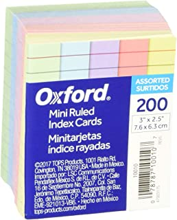 "Oxford Mini Ruled Index Cards, Ruled, 3"". x 2.5"", Assorted Colors, 200 ea"