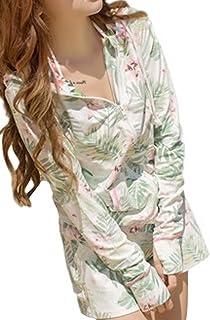 (Willing) ラッシュガード レディース 上下 セット パーカー ボタニカル柄 長袖 パンツ フード付き 体型カバー 大きいサイズ UVカット 水着 花柄 M L LL