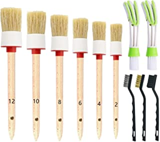ONEST 11 Pieces Auto Detailing Brush Set for Cleaning Weels, Interior, Exterior, Leather, Including 6 pcs Natural Boar Hair Premium Detail Brush and 2 pcs Automotive Air Conditioner Cleaner and Brush