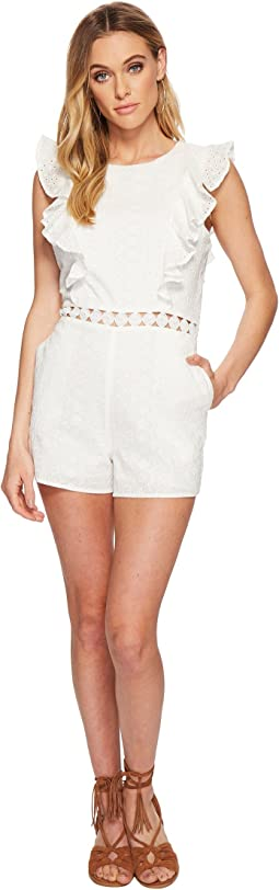 J.O.A. - Eyelet Sleeveless Ruffled Romper with Flared Hem