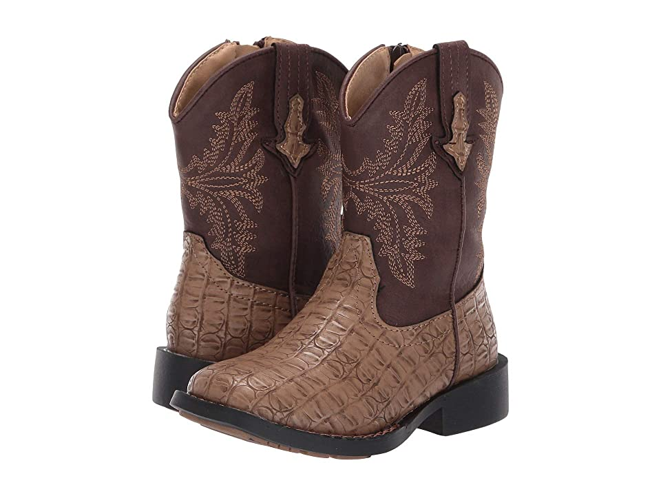Roper Kids Chomp (Toddler) (Tan Faux Caiman Vamp/Brown Shaft) Cowboy Boots