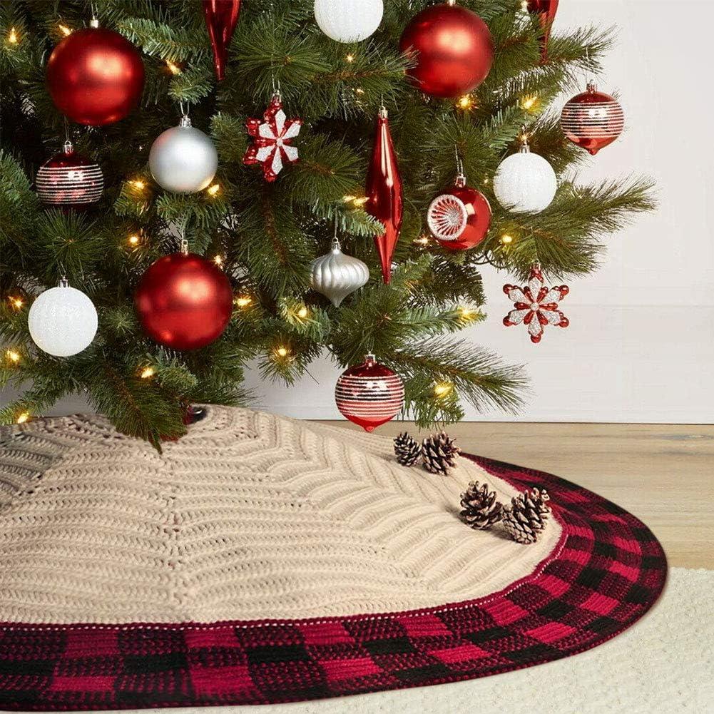 Vertvie Weihnachtsbaumrock Gestrickter Baumrock Stricken Luxuri/ös Weihnachtsbaum Ornamente Christbaumdecke Weihnachten Baum Skirt Weihnachtsbaumsch/ürze f/ür Weihnachts Party Weihnachtsdekoration 120cm