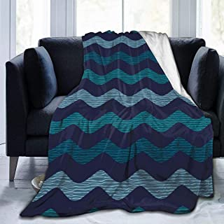 """Fleece Blanket 50"""" x 60""""-Water Geometric Home Flannel Fleece Soft Warm Plush Throw Blanket for Bed/Couch/Sofa/Office/Camping"""