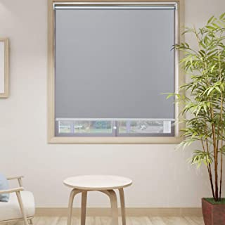 HOMEDEMO Blackout Window Shades Cordless UV Roller Shades & Blinds, Grey 30W x 72H, Room Darkening Spring Shade for Office, Bedroom, Kitchen