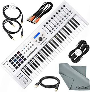 Arturia KeyLab MKII 49 Professional MIDI Keyboard Controller and Software (White) with Assorted Cables Bundle