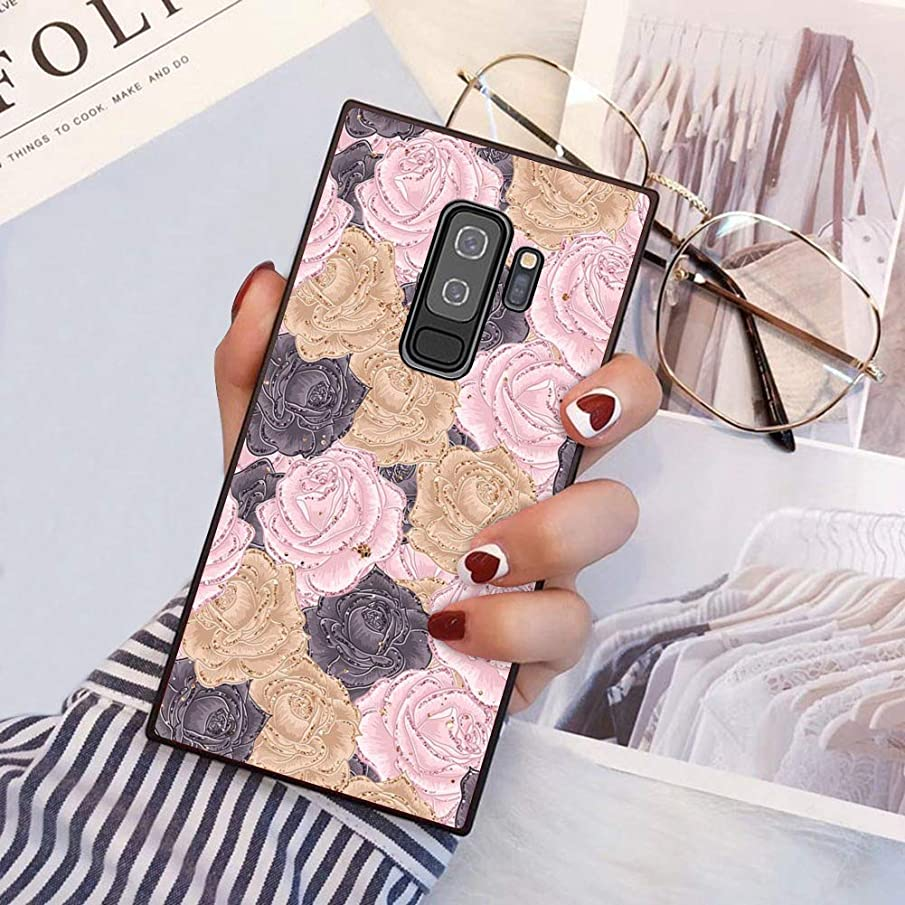 Flower Protective Phone case Shockproof Black TPU Silicone case for Samsung Galaxy S9 Plus
