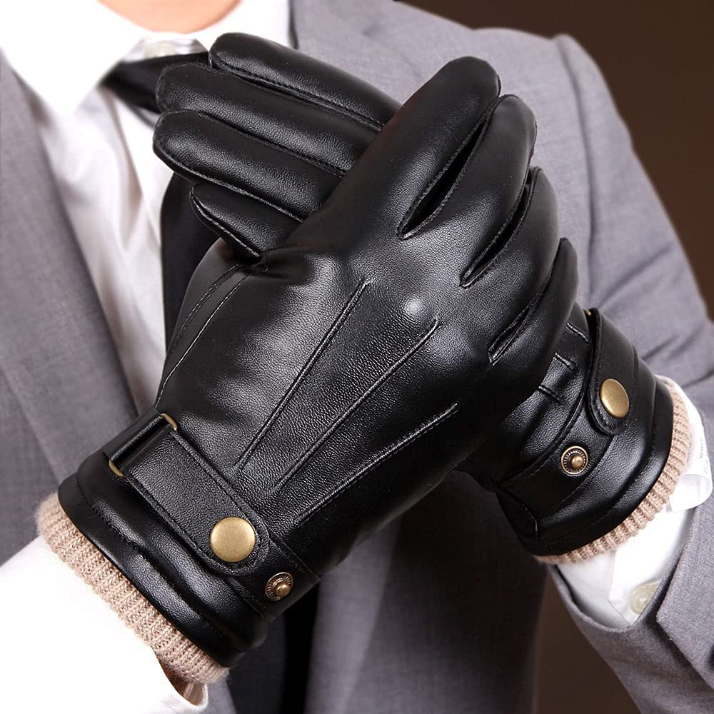 Kioiien Men's Winter Warm Sheepskin Leather Gloves with Wool Lining,Windproof and Waterproof Motorcycle Driving Gloves Touch Screen Texting Typing Mitten (Size : 9.2cm)
