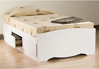 Prepac Queen Sonoma 6 Drawers, White Platform Storage Bed