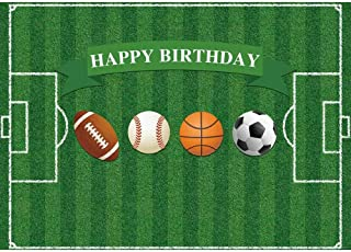 Allenjoy Football Field All Star Birthday Backdrop Baby Boy Sports Happy 1st Bady Party Decoration Basketball Football Baseball Rugby Banner 7x5ft Kids Photoshoot Props Photo Booth Background