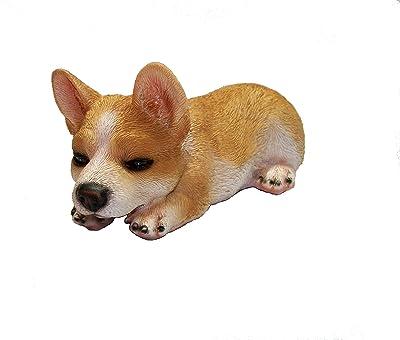 "GSC Welsh Corgi Sleepy Lying Puppy Dog Figurine 7.5"" L"