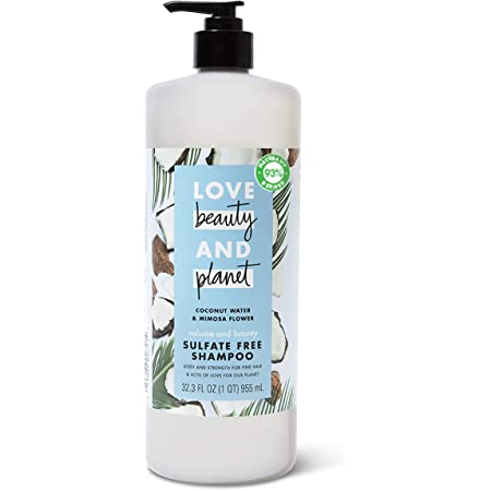 Love Beauty And Planet Volume and Bounty Thickening Shampoo For Fine Hair Coconut Water & Mimosa Flower Sulfate-Free, Paraben-Free, Vegan 32.3 oz
