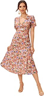 SheIn Women's Floral Print Split Side V Neck Short Sleeve Casual Long Dress