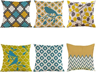 U-LOVE 6Pack Modern Geometric Style Pillow Covers Cotton Linen Cushion Covers 18 x 18 Inches for Home Decorative (Geometri...