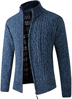 UUYUK Men Cable Knitted Stand Collar Full Zip Slim Fit Open Front Cardigan Sweater