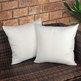 CZHO Pack of 2, Decorative Outdoor Waterproof Throw Pillow Covers, Square UV Protection Garden Cushion Case, PU Coating Pillow Shell for Patio, Porch and Balcony (White, 18x18 Inch)