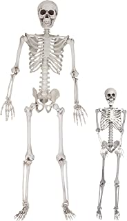 """Halloween Life Size Skeleton Value 2 Pack - Adult (5' 4"""") and Child (3') Decorations w Bending Joints - Weatherproof Human Bones Body Prop - Perfect for Indoor/Outdoor Use"""