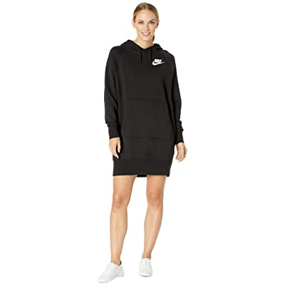 Nike NSW Rally Hoodie Dress Rib (Black/Black/White) Women