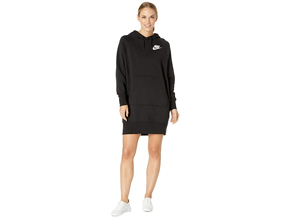 Nike NSW Rally Hoodie Dress Rib (Black/Black/White) Women