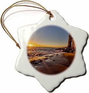 3dRose ORN_206999_1 Sunset at Victoria Beach in Laguna Beach, Ca Snowflake Porcelain Ornament, 3