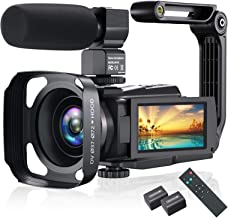 4K Video Camera Camcorder, Vlogging Camera 48MP 60FPS YouTube Camera WiFi Night Vision IPS Touch Screen Video Camera Digital Camera with External Microphone, Stabilizer, 2.4G Remote, Hood