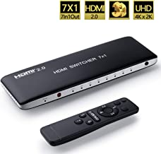 Univivi HDMI Switch 4k 60Hz HDMI 2 0 Switch port 7x1 HDMI Switcher Hub Box Support 4Kx2K Ultra With Remote Control And USB Cable