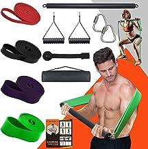 DASKING Draagbare Home Gym Weerstand Bar Set met 4 Weerstandsniveaus, 300 lbs Zware Laden Full Body Workout Apparatuur Gew...
