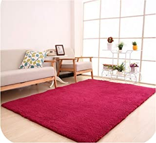 Drem-wardrobe Carpet Rug for Living Room Anti Slip Bedroom Soft Carpets Home Textile Mats Tapete para Sala 12016,Red Wine,80X160Cm
