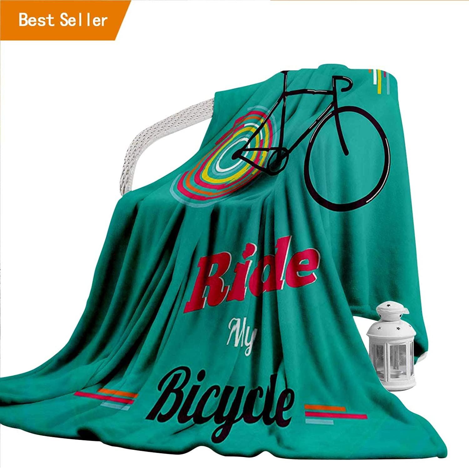 Flannel Throw Blanket, Vintage Ride My Bicycle Theme Poster Style Retro Bike Hipster Art Illustration Teal Hot Bedspread Blanket for Home,300GSM, Super Soft and Warm, Durable Twin 60  x 70