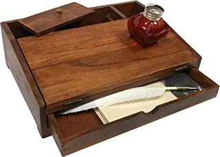 """14-1/4"""" Colonial Distressed, Teak and Mango Wood Stained Portable Writing Chest includes Three Sheets Aged Papers, Red Bubble Inkwell, White Quill with Nib and Black Ink"""