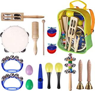 Toddler Musical Instruments 15 Pieces Kids Percussion Drums Toys Rhythm Band Set with Carrying Bag Educational Early Learn...