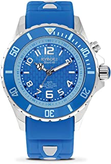 KYBOE! Quartz Stainless Steel and Silicone Watch (Model: Silver Sapphire)