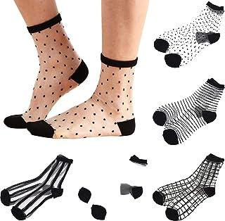 Sheer Mesh Transparent Socks Women - Lace Ultrathin Fishnet See Through Ankle Sock