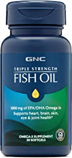 GNC Triple Strength Omega 3 Fish Oil 1000mg, 30 Count, Supports Joint, Skin, Eye, and Heart Health